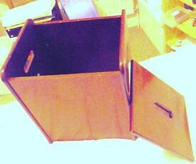Compact Linen Bin Clothes Trunk in mahogany finish