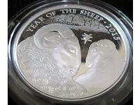 X1 Royal Mint Lunar Year Of The Sheep 2015 U.K. One Ounce Silver Proof £2 Coin