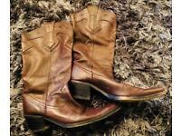 Zara Spanish Soft Leather Cowboy Boots Size 8