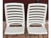 Beach chair folding plastic cream low deck chair sun garden seaside x 2