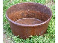 Antique Cast Iron Feeding Bowl - Garden Planter - Flower Pot
