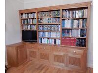 Stunning bespoke Oak bookshelves and cupboards