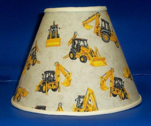 Construction Equipment on Tan Handmade Lamp Shade Lampshade
