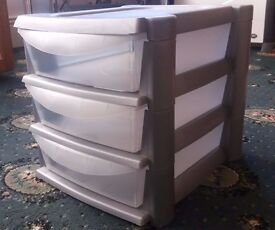 3 Drawer Stationary Storage with Clear Drawers for easy viewing, in excellent condition