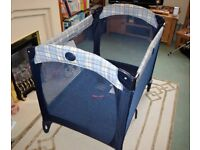 Graco Pack ' n' Play Travel Cot in blue c/w mattress.