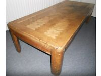 Large Hardwood Coffee Table with Patterned Top