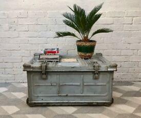 Vintage Industrial Trunk Box Metal #630