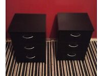 Two Black 3-Drawer Bedside Tables, Good Condition, £20 for both o.n.o. Collection Only.