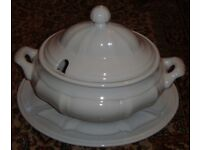 Very Large White Tureen with Lid and Stand