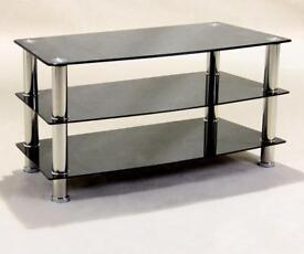 Small Black Glass and Chrome TV Unit