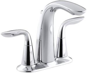 NEW Kohler K-5316-4-CP Refinia Centerset Lavatory Faucet, Polished Chrome