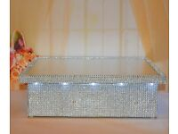 "EX-DISPLAY LED LIGHT UP 12"" 14"" 16"" 20"" WEDDING CAKE STANDS SILVER DIAMOND DIAMANTE CRYSTAL EFFECT"