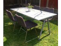 IKEA White Galant desk table & 4 Grey Tobias Jacobsen Chairs