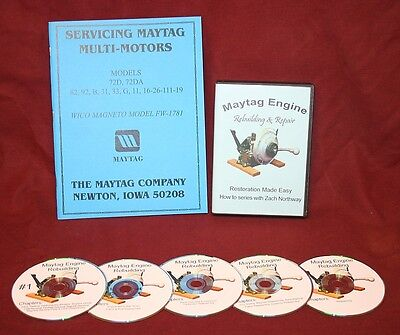 Maytag Hit Miss Gas Engine Motor How - To Model 92 Video Series Dvd Book