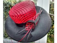 INVITE TO A WEDDING? RED & BLACK FORMAL STRAW HAT