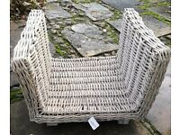 Large Square Buff Rattan Open Ended Wicker Log Basket