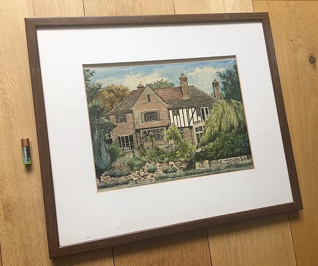 Vintage Watercolour Painting Of A House Framed, Glazed & Signed ...