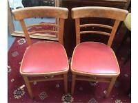 Red retro leather chairs x2
