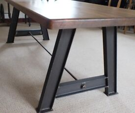 Rustic Industrial Solid Pine Dining Table Oak Finish