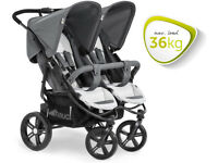 EXDISPLAY GREY HAUCK ROADSTER DUO SLX SIDE BY SIDE TWIN DOUBLE PRAM PUSHCHAIR FROM BIRTH TO 36KG