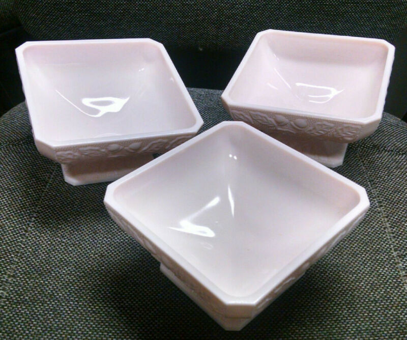 set of 3 Vintage Jeanette Pink Milk Glass Acorn Candy Dish Footed