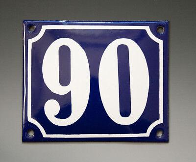 EMAILLE, EMAIL-HAUSNUMMER 90 in BLAU/WEISS um 1955-1960