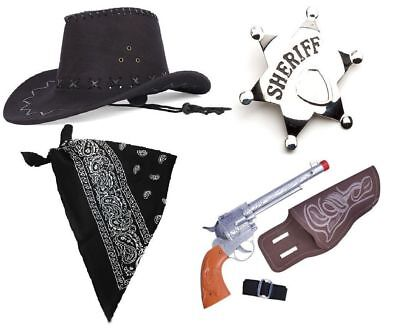 WILD WEST COWBOY SHERIFF MEN'S ADULT WESTERN 4 PIECE FANCY DRESS HALLOWEEN SET