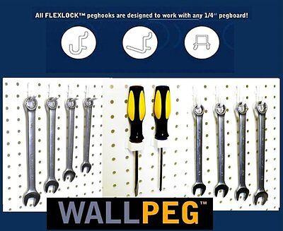 """60 Pc.1/4"""" PEG BOARD HOOKS Shelf Hanger Kit Garage Storage Pegboard Hanging Set"""