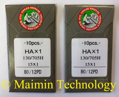 20 80/12 SHARP ORGAN TITANIUM FLAT SHANK 15X1 HAX1 HOME SEWING MACHINE NEEDLES