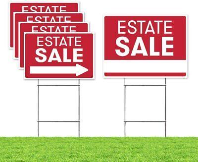 Estate Sale Sign Bundle Kit Upgraded 5 Double Sided Red Pro Real Estate