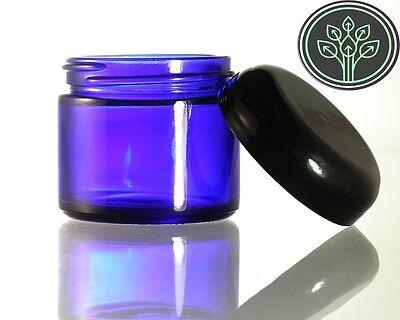 Cobalt Blue Glass Jar Kitchen / Apothecary / Herb Jars 2 oz (4 pack)