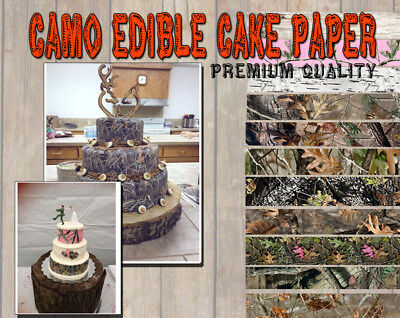 CAMOUFLAGE CAKE topper Edible image FROSTING SHEET icing paper strips wraps camo](Camo Cake Toppers)