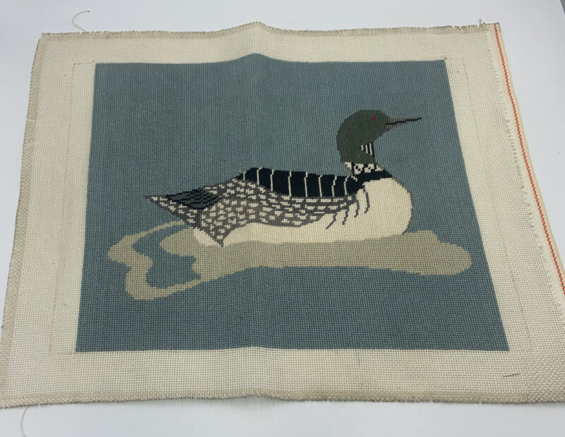 Vintage Finished Wool Needlepoint Picture LOON Unframed