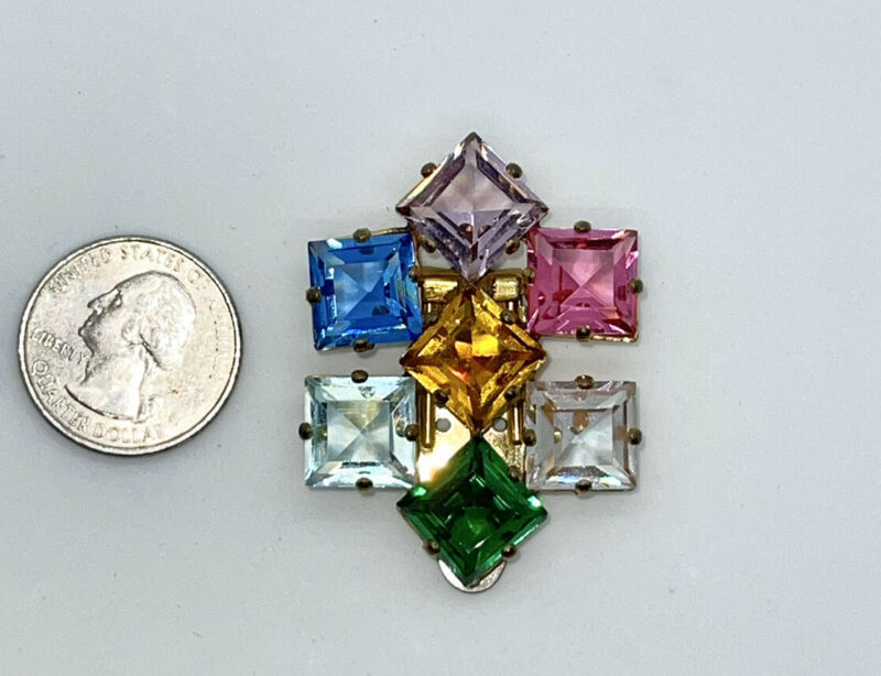 Vintage Art Deco Faceted Fruit Salad Geometric Crystal Rhinestones Dress Clip