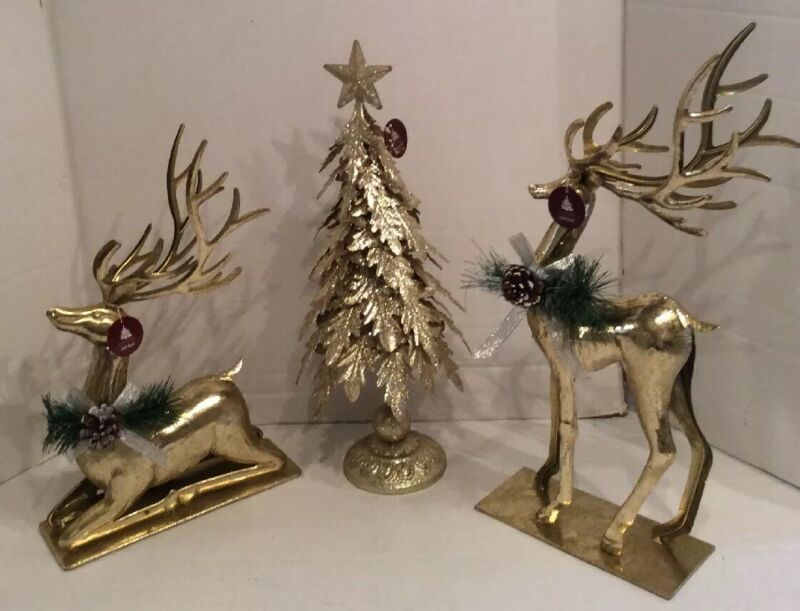 Enchanted Forest Decorative Gold Reindeer Set 2 With Gold Glitter Tree New