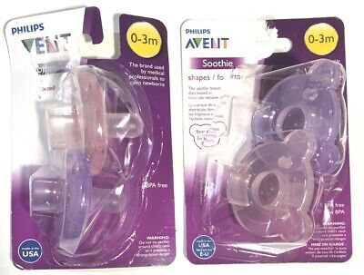 PHILIPS AVENT SOOTHIE PACIFIER - Total of 4 - DAMAGED Packaging- Products Good
