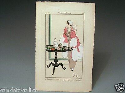 Etienne Drian 1914 Costumes Parisiens Pochoir Original Fashion Plate 114