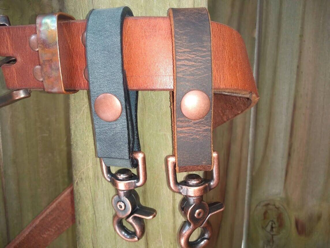copper buffalo leather key fob belt loop