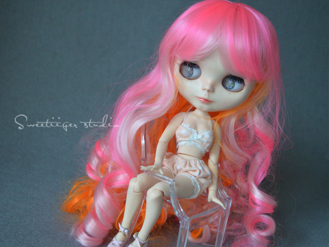 "Tii 8-10/"" NEO 12/"" Blythe PULLIP Hair doll wig milk blond princess curly"