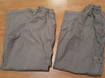 2 Pair Of Chefs Revival Houndstooth Baggy Chef Pants Size Medium