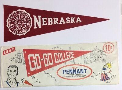 Vintage 1950 Nebraska Cornhuskers College University Mini Pennant 3.25x9.25 Leaf