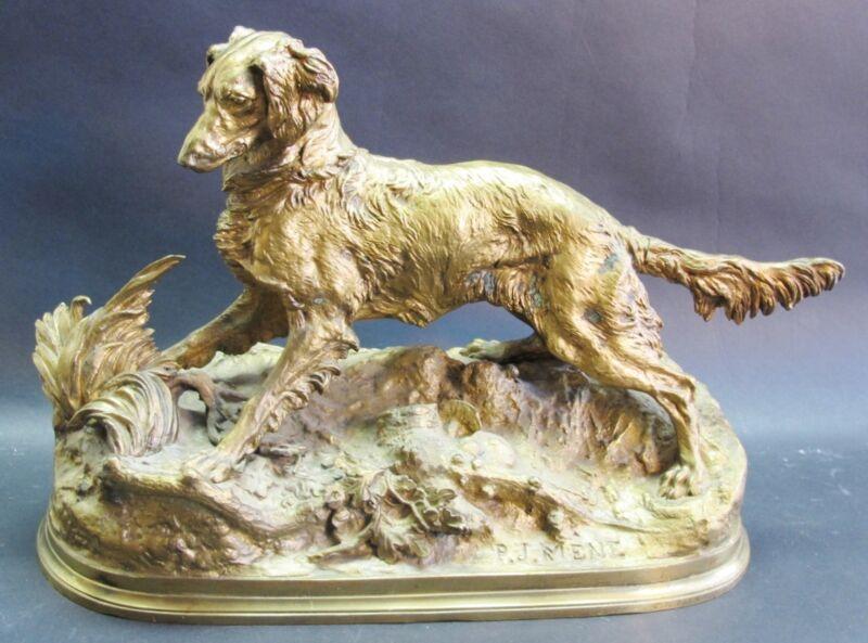 "Large 13"" P. J. Mene Gilt Bronze Sculpture Of Dog  C. 1880   Antique Statue"