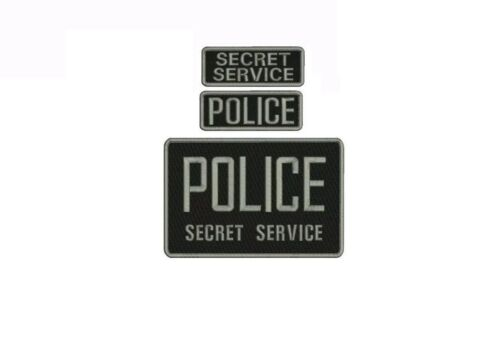 POLICE SECRET SERVICE EMB PATCHES  6X9 AND 2X5 HOOK ON BACK BLK/GRAY