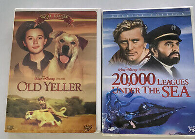 Disney OLD YELLER & 20,000 LEAGUES UNDER THE SEA 2-Disc Set DVD LOT PERFECT VG!