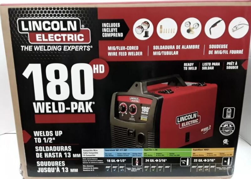 Lincoln Electric 180hd WELD Pak MIG TIG Pro 180 HD WIRE FEED WELDER - NEW