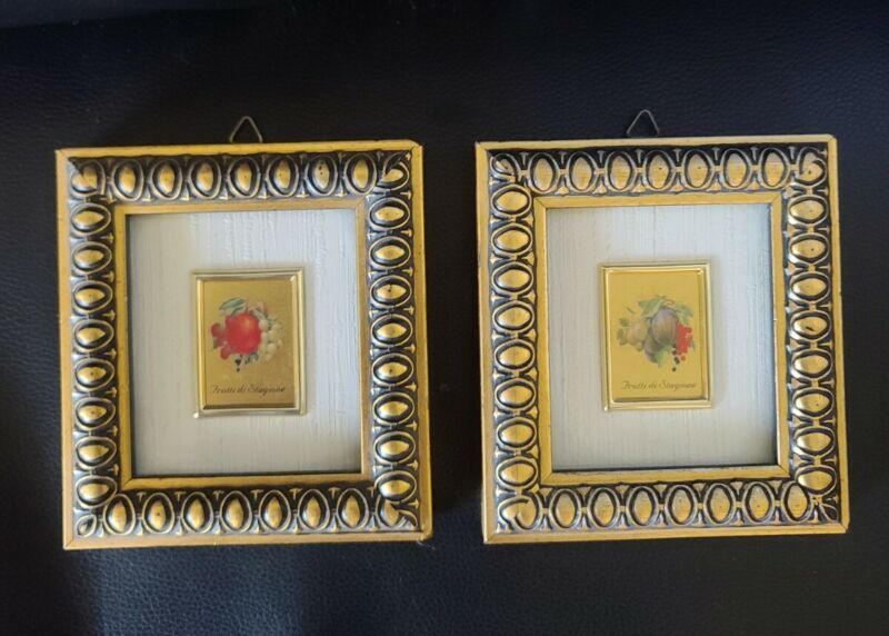 Two 23KT Gold Leaf Foil Miniature Framed Art FRUIT Frutti di Stagione ITALY