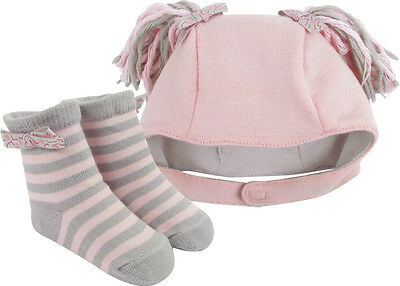 Baby Deer Infant Gift Set Girl Hat Sock / Bootie Pink Cheerleader (Infant Gift Set)