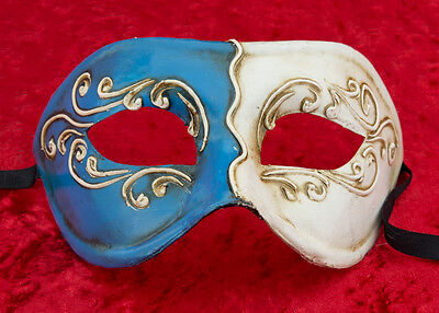 Mask from Venice Colombine Blue Paper Mache -creation Craft - .2160 -V39B