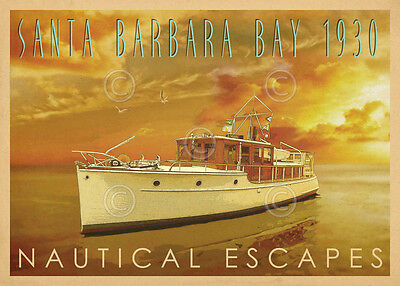 BOAT ART PRINT Nautical Escapes 6 by Carlos Casamayor Santa Barbara Poster 44x32 ()