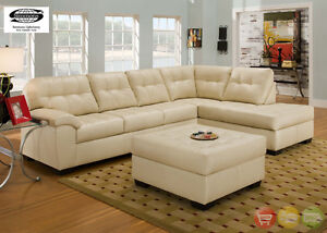 Soho Contemporary Ivory Bonded Leather Sectional Sofa w/Chaise Simmons Brand